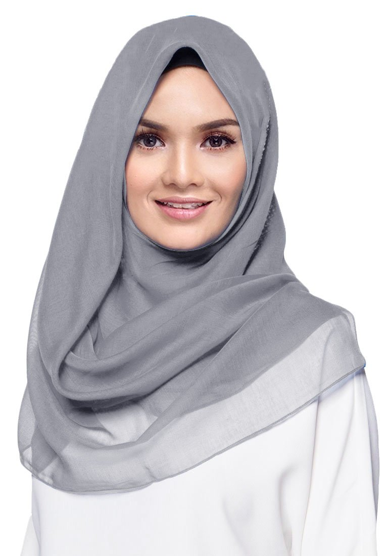 Hana's Women's Square Cotton Hijab Scarf One Size (One Size, Light Grey)