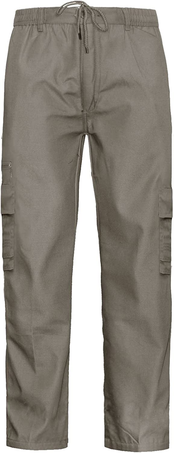 NEW MENS ELASTICATED TROUSERS CARGO COMBAT FULL LENGTH SUMMER WORK JOGGING PANTS