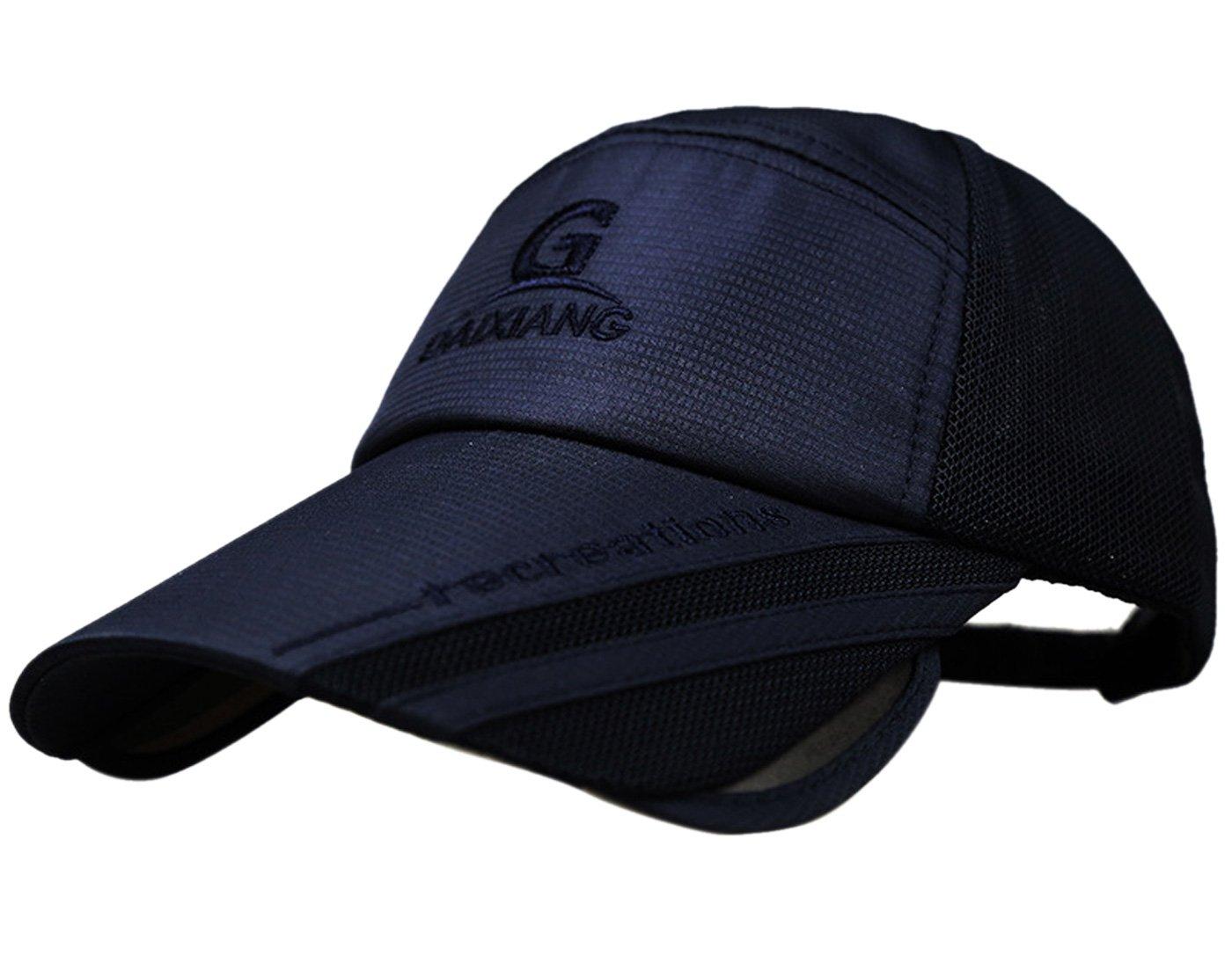 Mens Snapback Quick Dry Adjustable Baseball Race Running Summer Mesh Hat Cap Visor Navy
