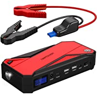 DBPower 600A 18000mAh Portable Car Jump Starter with Smart Charging Port, Compass, LCD Screen & LED Flashlight (Red)