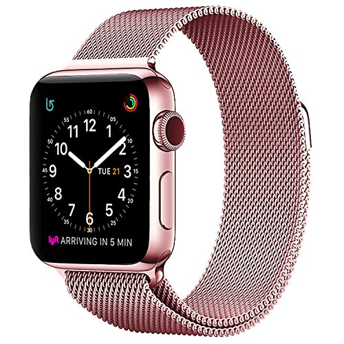 Apple Watch Milanese Band 38mm, SICCIDEN Magnetic Mesh Loop Milanese Stainless Steel Replacement iWatch Band for Apple Watch Series 2, Series 1, Rose Gold