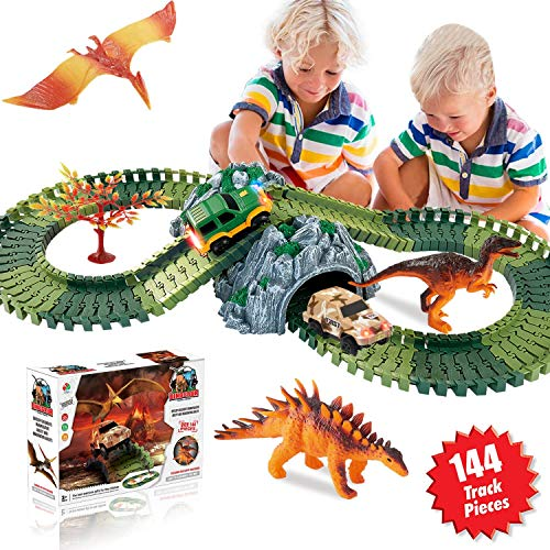 Flexi Track - HOMOFY Dinosaur Toys Race Car Track Sets 144 Pcs Flexible Tracks, 3 Dinosaurs, 2 LED Cars, 1 Tree 2 in 1 Tunnel 2 3 4 Year Old Girls Boys
