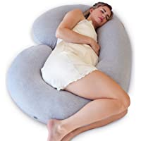 PharMeDoc Pregnancy Pillow (with Travel/Storage Bag) - C Shaped Full Maternity Body Pillow - Jersey Grey Cover