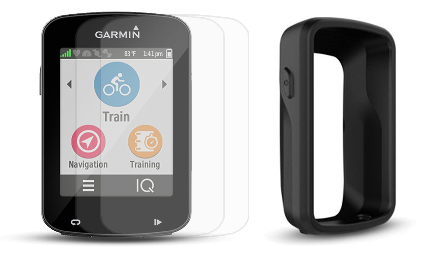 Garmin Edge 820 Cycle Bundle with PlayBetter Protective Silicone Case & HD Glass Screen Protectors (2-Pack) | Touchscreen Display, GPS Bike Computer (Black Case, GPS Only)