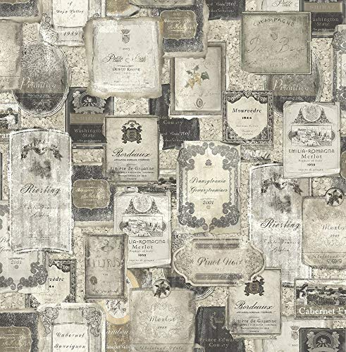 (Vintage Wine Wallpaper in Charcoal MV81207 from)