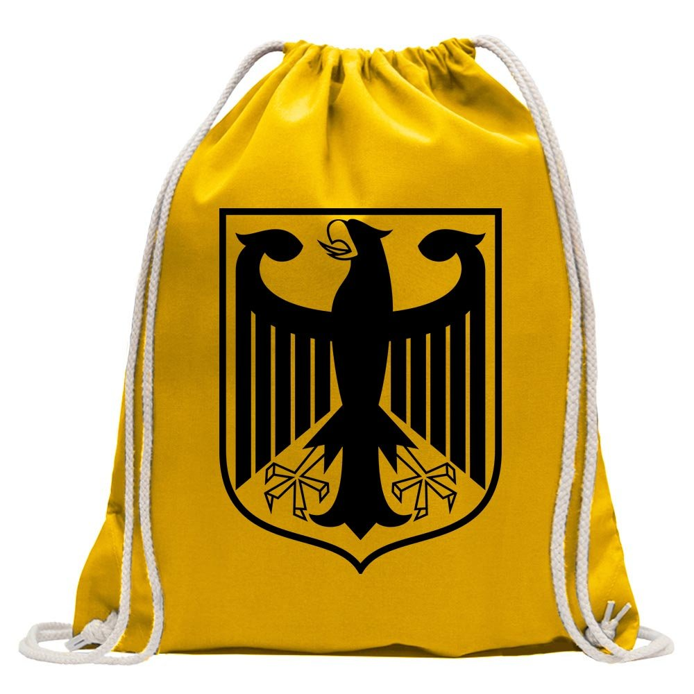 KIWISTAR - Federal coat of arms Germany frame Fun backpack sports bag fitness Gymbag shopping cotton with drawstring