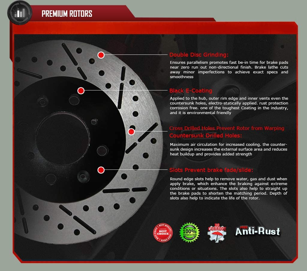 Front Drill/&Slot Brake Rotors Ceramic Pad Fit 13-15 Ford Escape w//320mm Rotor