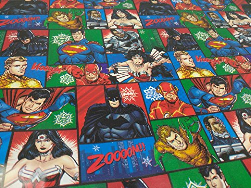 Christmas Wrapping Holiday Paper Gift Greetings 1 Roll Design Festive Wrap Superman Flash Batman Wonder Woman Justice League