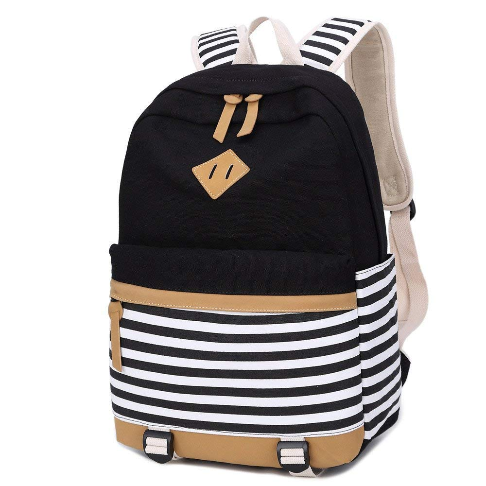 Canvas Student Backpack,3pcs Casual Lightweight School Bookbag,College Laptop Backpacks+ Lunch Bag + Pencil Case for Teen Youth Student.(Black Strips) Black 3pcs