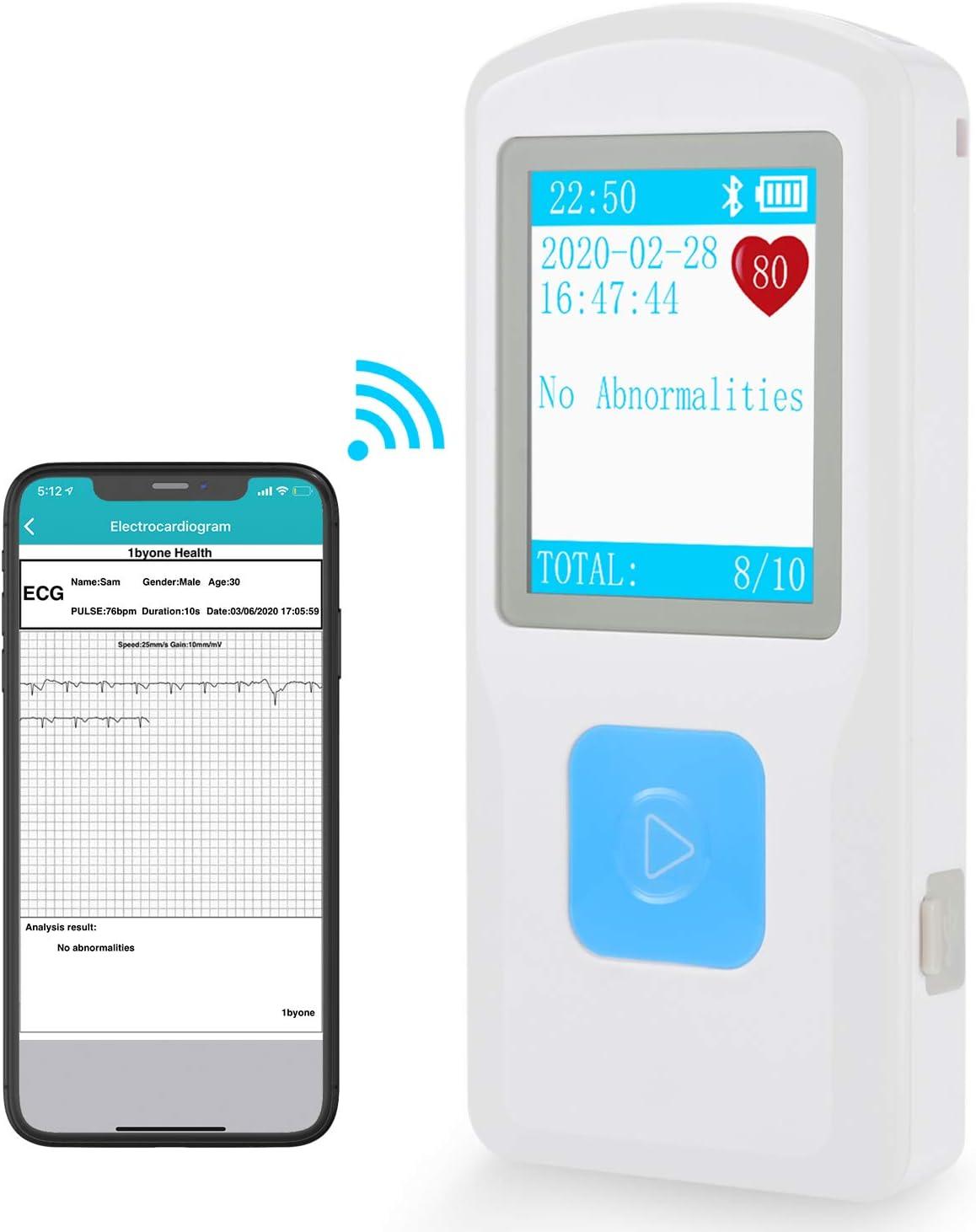 1byone Monitor de ECG Bluetooth, Mano avanzado Mini Pulsómetros EKG Electrocardiógrafos conectable con USB