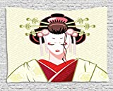 Japanese Tapestry, Geisha Woman Portrait Traditional Asian Kimono Maiko Cultural Hairdo, Wall Hanging for Bedroom Living Room Dorm, 80 W X 60 L Inches, Green Red Light Yellow