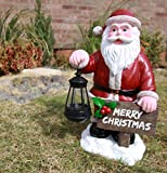 Atlantic Collectibles Merry Christmas Santa Claus Decorative Statue W/ Solar LED Light Lantern Lamp 16.5″H