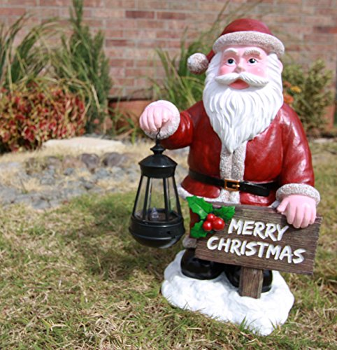 Ebros Jolly Seasons Merry Christmas Santa Claus Holding Greeting Sign Decorative Statue With Solar LED Light Lantern Lamp 16.5