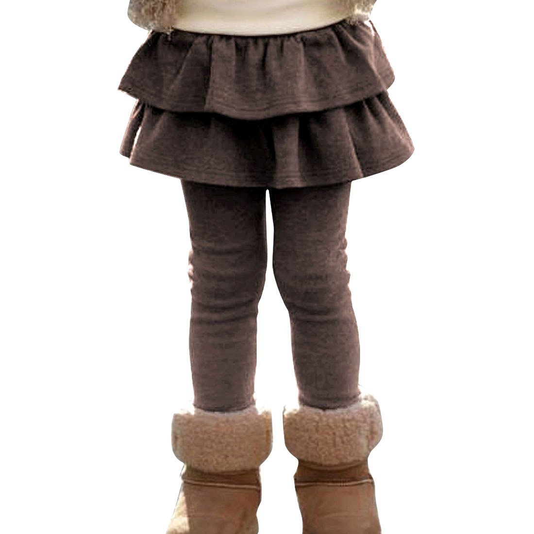 EGELEXY Girls Cute Cotton Skirted Tutu Leggings 6-7Years Coffee