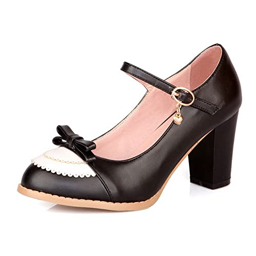 cd5bcec86b9 AmoonyFashion Womens Closed Round Toe Kitten Heel PU Assorted Colors Pumps  with Bowknot and Buckle