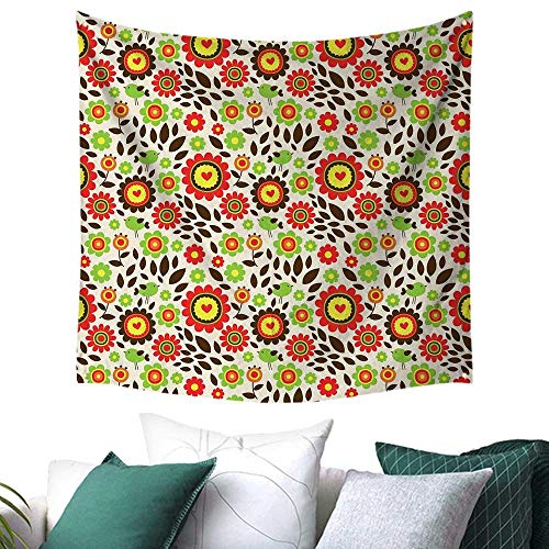 homehot Kids Room Tapestry for Dorm Childlike Drawing of Summer Garden with Colorful Flowers Cute Birds Fallen Leaves Restaurant/Shop Decoration 32W x 32L Inch Multicolor ()