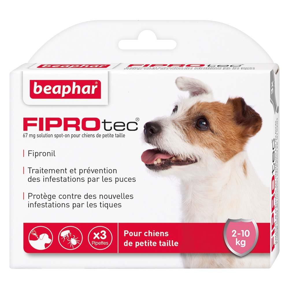 Beaphar - FIPROtec, pipettes anti-puces et anti-tiques au Fipronil - chien de 10 à 20 kg - 3 pipettes 14357 pipettes anti-puces chien pipettes anti-tiques chien antiparasitaire chien