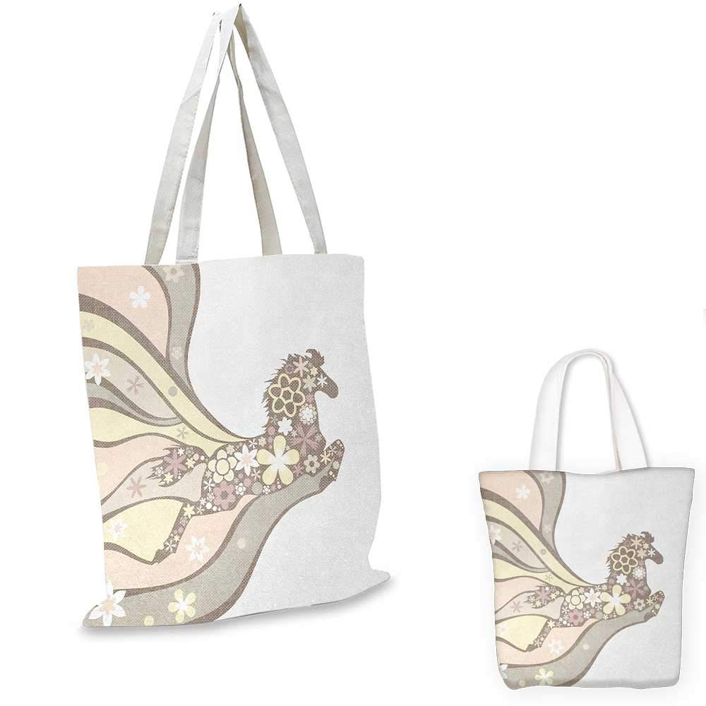 12x15-10 Nature canvas messenger bag Floral Horse Galloping Equestrian Unique Inspirational Freedom Graphic canvas beach bag Pale Yellow Peach Cocoa