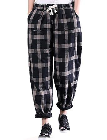 8106e1ebe7a1 Youlee Damen Winter Herbst Elastische Taille Karierte Hosen Style 1 Black