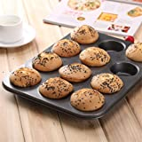 Kurtzy Carbon Steel Non-Stick 12 Cups Baking Moulds Pan for Muffins (Black)
