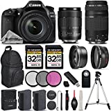 Canon EOS 80D Wi-Fi Full HD 1080P Digital SLR Camera + Canon 18-135mm IS USM + Canon 75-300mm III + 0.43Wide Angle Lens + 2.2x Telephoto Lens. All Original Accessories Included - International Version