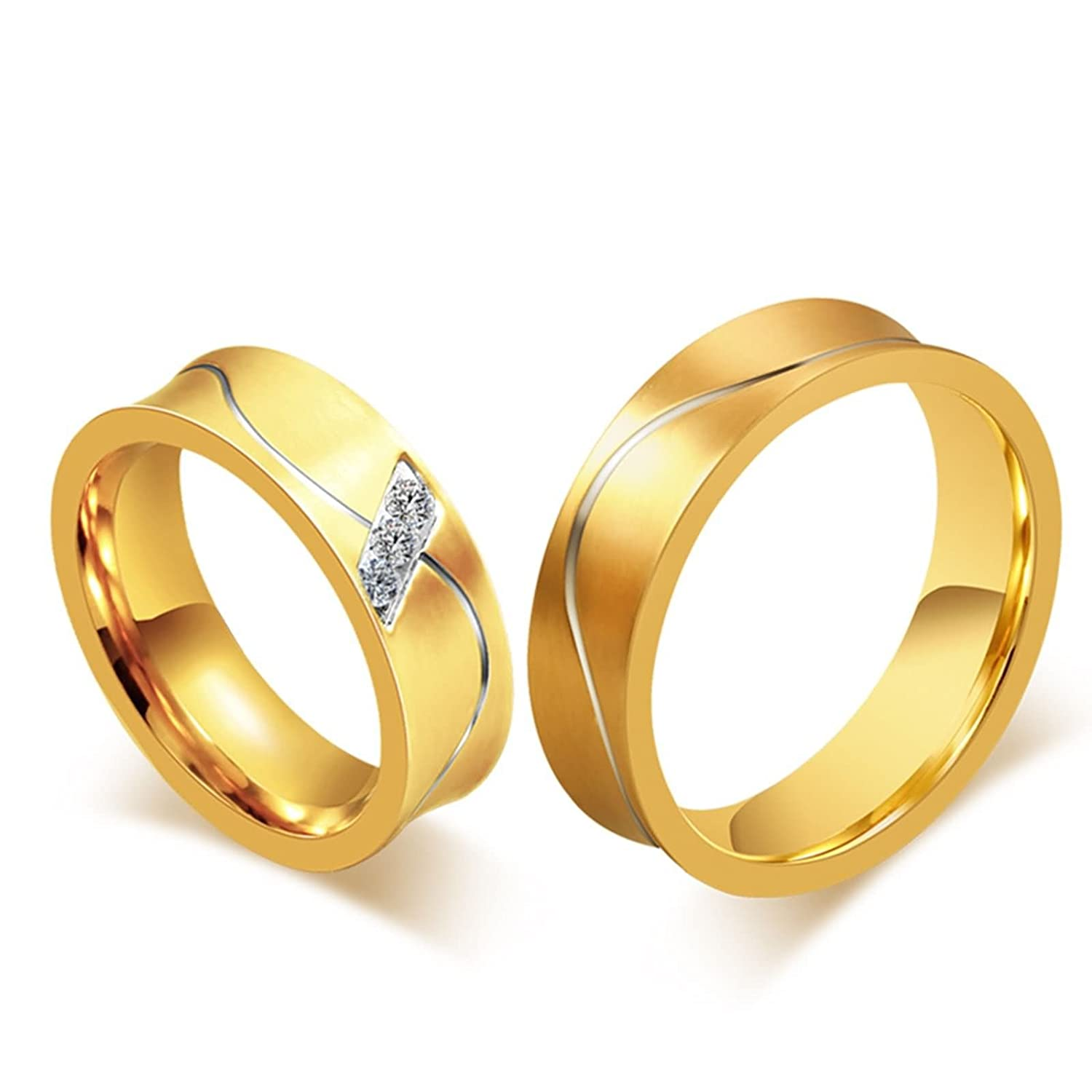 ANAZOZ Couple Ring Sets 6MM Stainless Steel Gold Plated Cubic Zirconia Wedding Band Rings