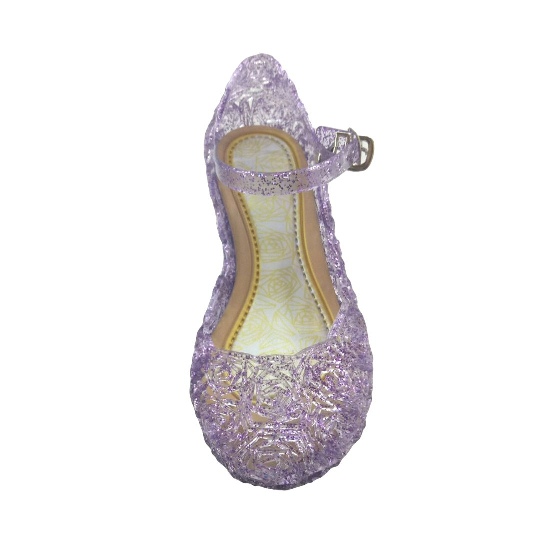 O&N Princess Girls Queen Dress Up Cosplay Jelly Shoes for Kids Toddler Dance Party Sandals Mary Janes Purple 8.5 M US Toddler
