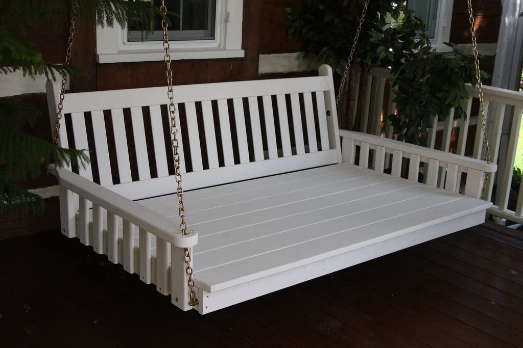 Outdoor 6 Traditional English Swing Bed – Oversized Porch Swing – Painted- Amish Made USA -White