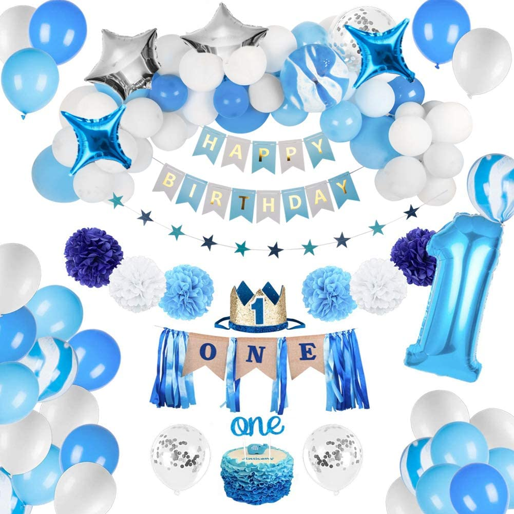 JOYYPOP 1st Birthday Boy Decorations - Baby Boy 1st birthday Party supplies blue decorations 67PCS with 1st Birthday Baby Crown, ONE Cake Topper, 1st Birthday Highchair Banner Decorations Happy Birthday Banner