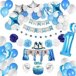 JOYYPOP 1st Birthday Boy Decorations - Baby Boy 1st birthday Party supplies blue decorations 67PCS with 1st Birthday Baby Crown, ONE Cake Topper, 1st Birthday Highchair Banner Decorations Happy Birthday Banner