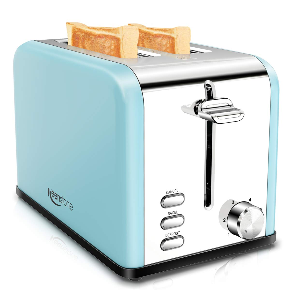 Toaster 2 Slice, Keenstone Retro Toaster with Cancel, Bagel, Defrost Function and 6 Browning Settings 1.5 Inch Extra Wide Slot Stainless Steel Toaster with Removable Crumb Tray Blue