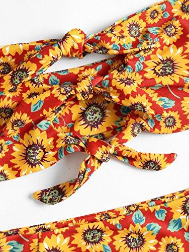 9ffabea9717 ZAFUL Women's Strapless Sunflower Print Knot Front High Waist Bandeau Bikini  Set
