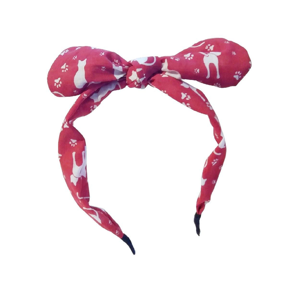 Wide Ribbon Bow Bowknot Rabbit Bunny Ears Headband Hairband Wire Bendy Bow
