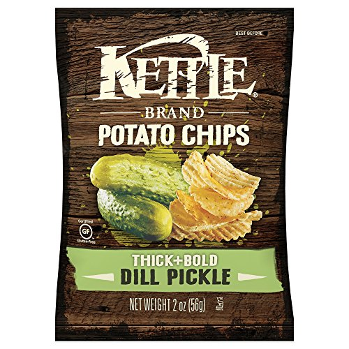 Kettle Brand Thick and Bold Potato Chips, Dill Pickle, 2 Ounce Bags (Pack of 24)