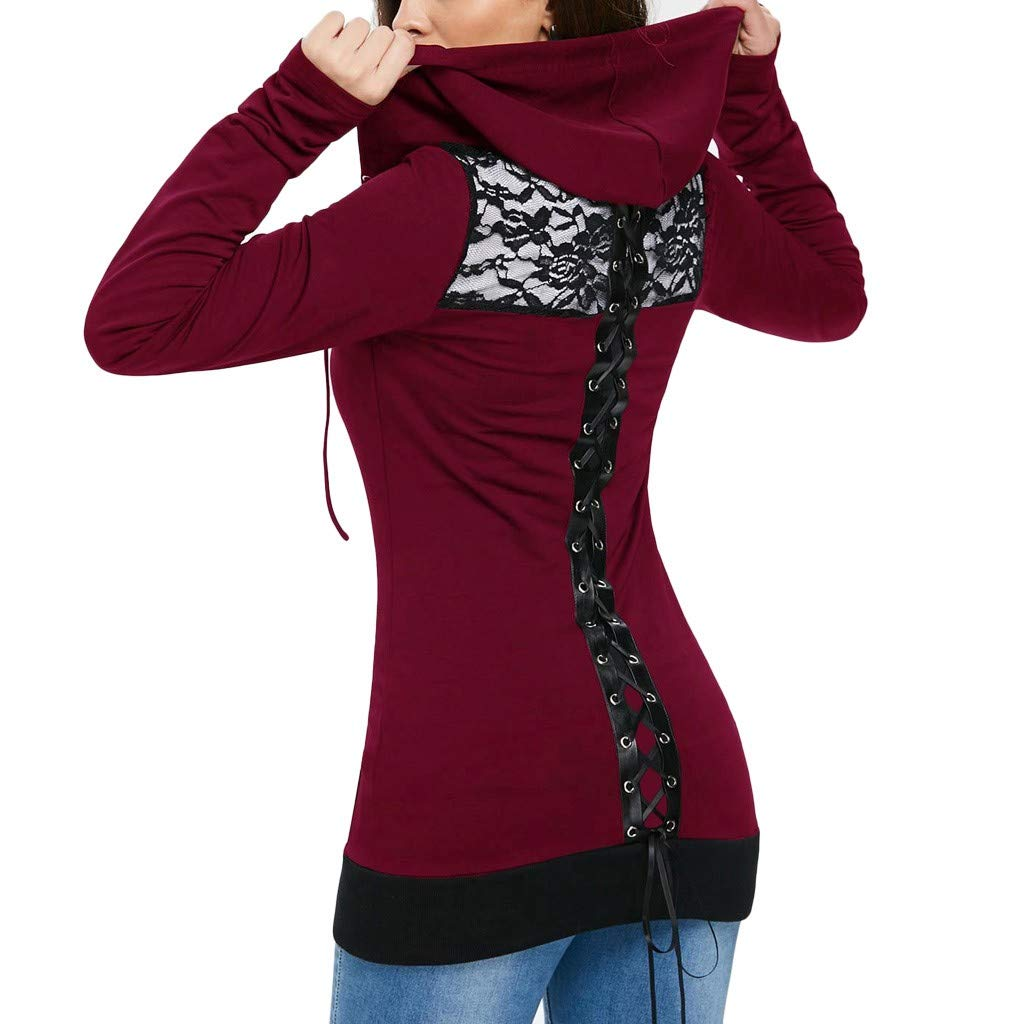 TOPBIGGER Women's Gothic Lace Up Back Long Sleeve Zip Up Long Hoodie Jacket Stretchy Blouse Top Wine by TOPBIGGER