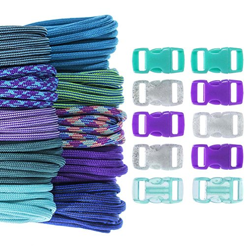 Fluorite Bracelet Purple - Craft County 100 Foot 550 Paracord Crafting Kit Selection – Vibrant Colors & Buckles – Ideal for All Ages and Skill Levels – Create Colorful Paracord Bracelet, Lanyard, Keychain Projects