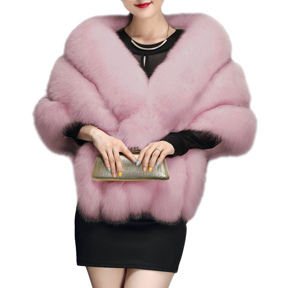 Amore Bridal Winter Luxury Party Faux Fox Fur Long Shawl Cloak Cape for Women Light Pink
