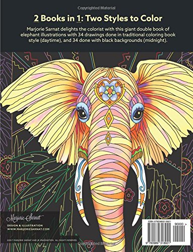 Elegant Elephants Day Night Coloring Book Marjorie Sarnat 9780989318921 Amazon Books