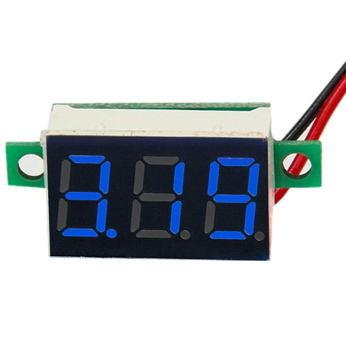 ARCELI Digital Display Two-Wire Voltmeter 0.36 Inch DC4.5V-30V DC Voltage Meter (Blue) Motorcycle Voltmeter