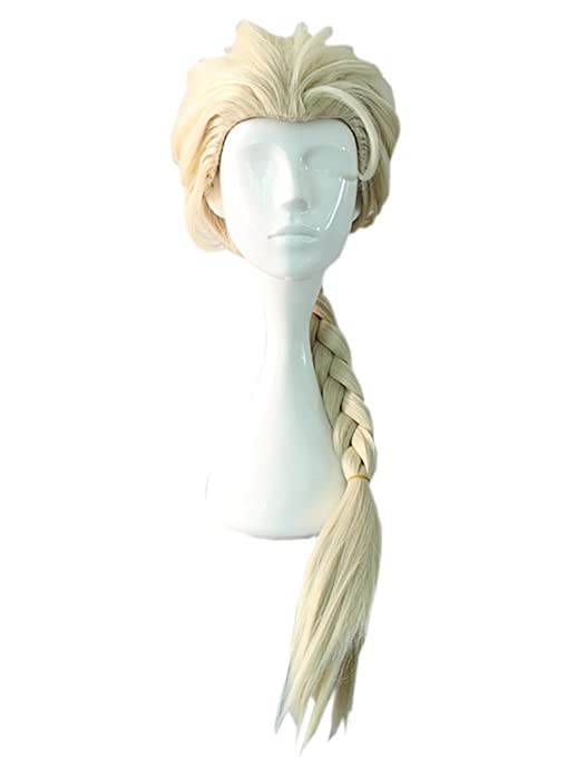 AMYHOME Frozen Cosplay Costume Elsa Peluca de Trenza para Disfraz Halloween Wig para Mujer Chica 40