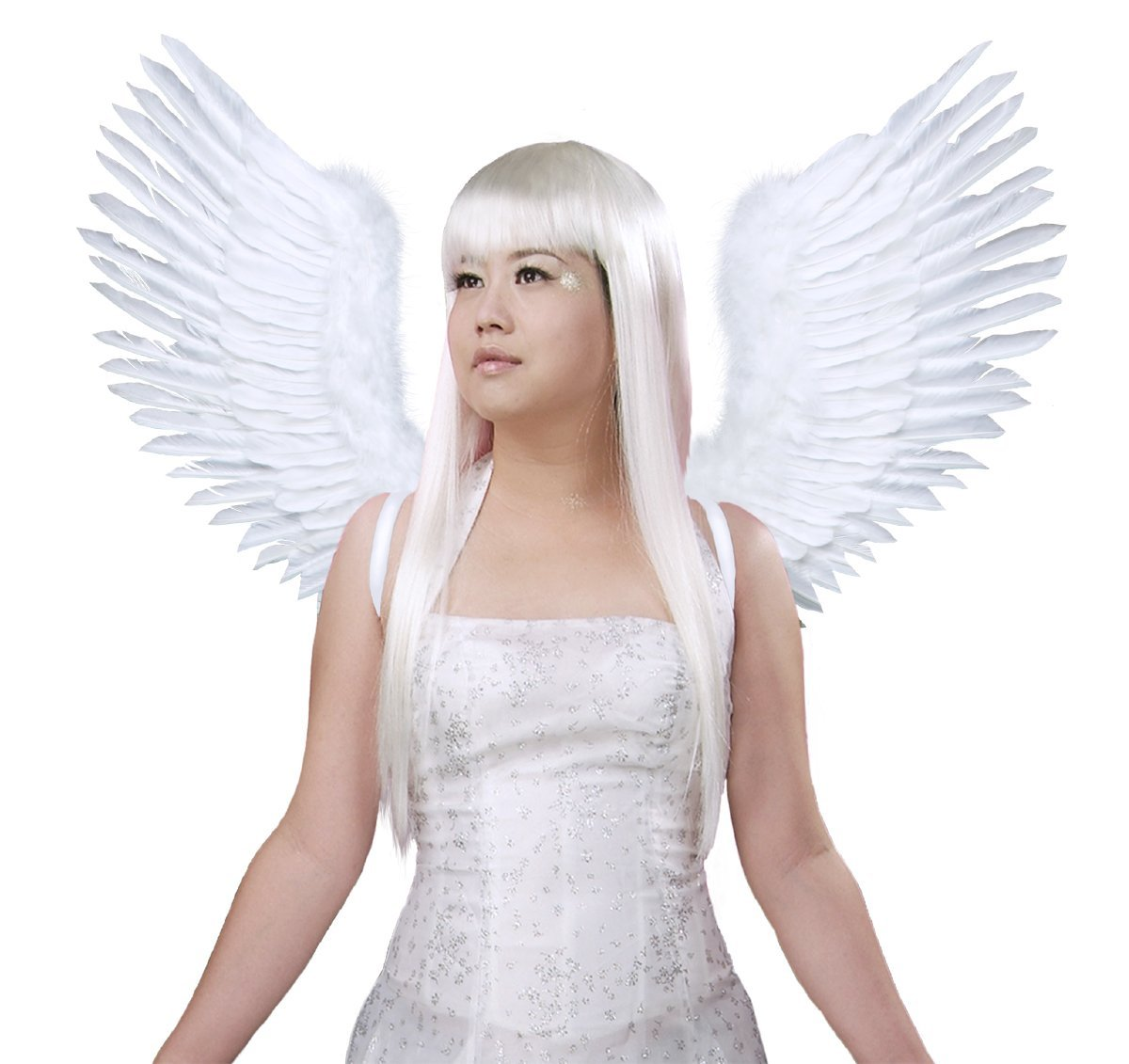 FashionWings (TM) White Open Swing V Shape Costume Feather Angel Wings Adult Unisex