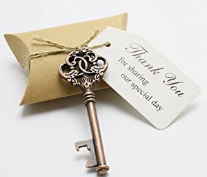 50pcs Wedding Favors Candy Box w/ Antique Skeleton Key Bottle Openers Escort Card Thank You Tag Pillow Box (Key Style #6)