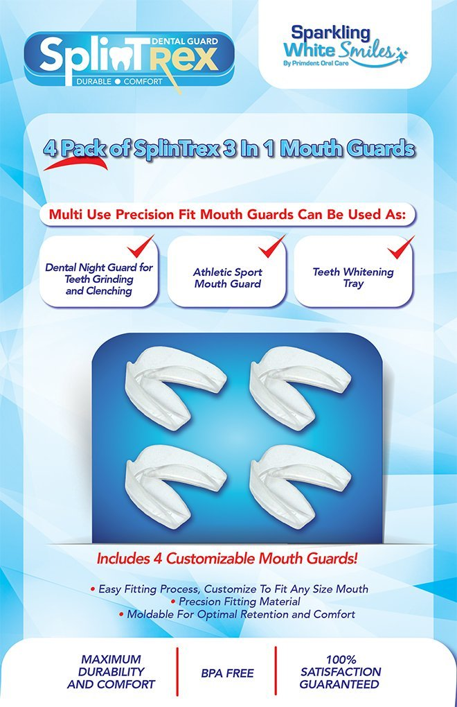 Professional Teeth Mouth Guards for Teeth Grinding and Clenching - Dental Protectors for Bruxism - 4 Pack - BPA Free - Multi Use - Free Storage Case