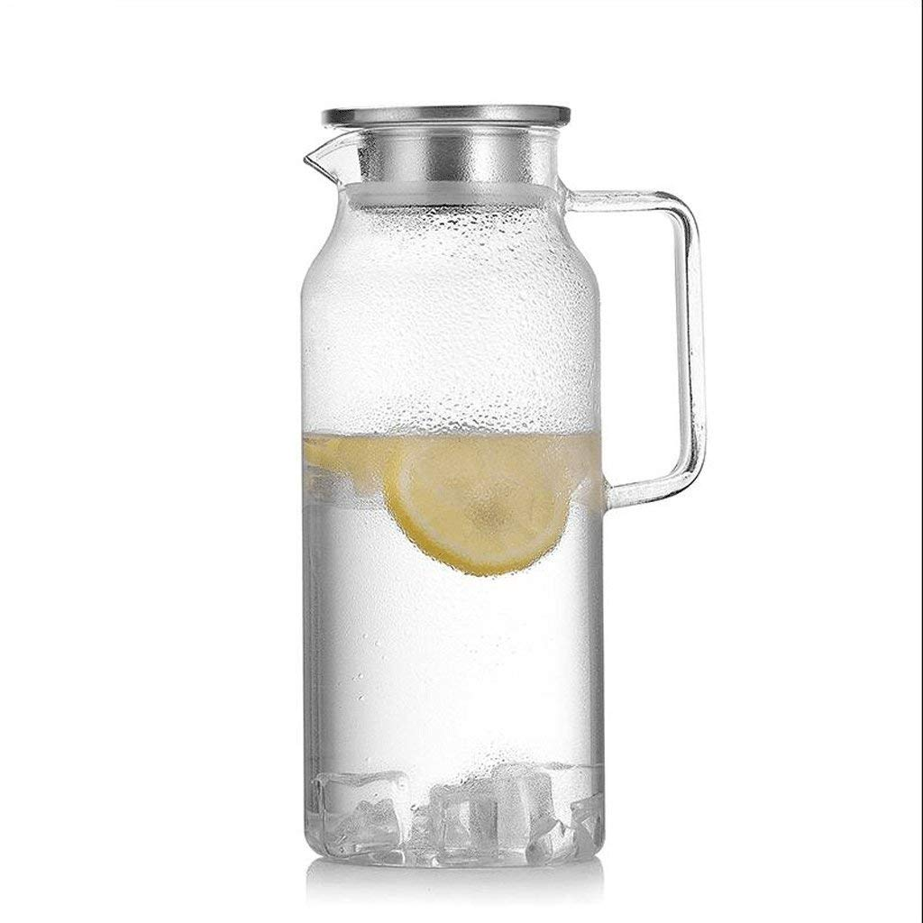 High Temperature Resistance ZS Heat Resistant Glass Cold Water Bottle Set Household 2 Liter Large Capacity Cup Teapot Stacked Cup of Water Bottle (Capacity : 2000ml) (Size : 2000ml)
