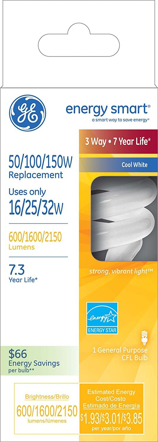 6-Pack GE Energy Smart CFL 3-way 16//25//32-Watt; 600//1600//2150-Lumen T3 Spiral Medium Base