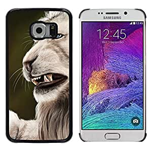 Be Good Phone Accessory // Dura Cáscara cubierta Protectora Caso Carcasa Funda de Protección para Samsung Galaxy S6 EDGE SM-G925 // Roar Angry Big Cat Lion Nature White