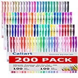 200 Coloring Gel Pens Set Caliart 100 Unique Coloring Pens Plus 100 Ink Refills Non Toxic Acid Free Gel Pen for Adult Coloring Books and School Projects