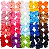 4.5 Inch Hair Bows Clips Grosgrain Ribbon Boutique Hair Bow Alligator Clips For Girls Teens Toddlers Kids 40 PIeces(20 Colors in Pairs)