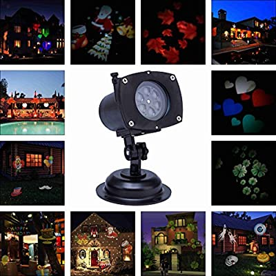 Lightess Christmas Projector Lights LED Projection Light Landscape Spotlight for Outdoor Holiday Gobos Decoration, 12 Patterns 110V
