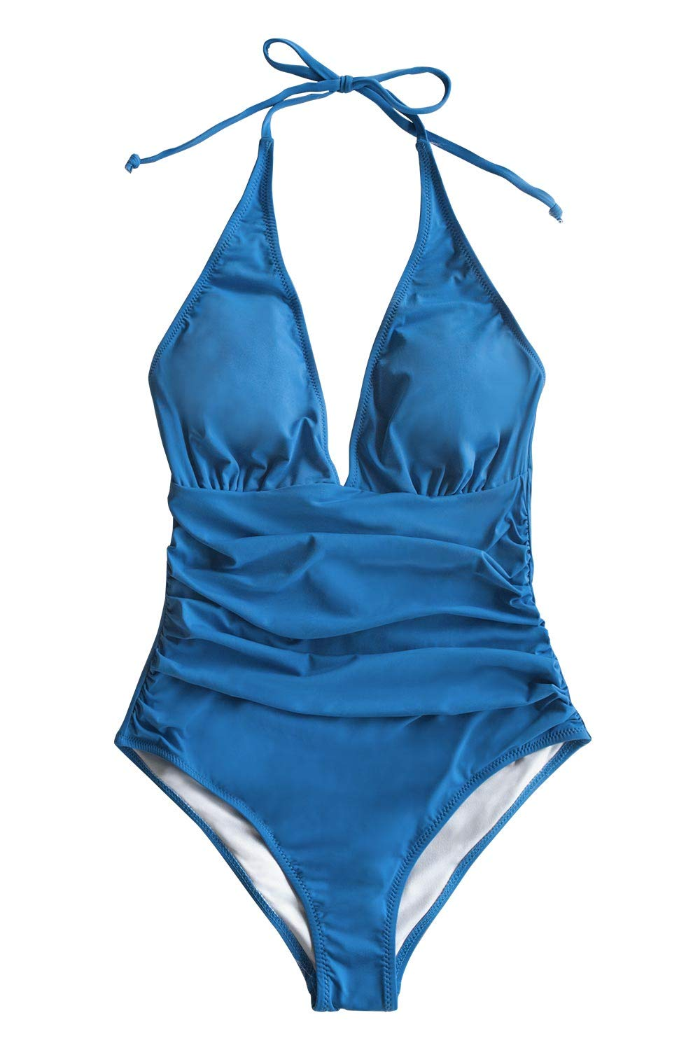 CUPSHE Women's Hlter V Neck Bathing Suit Shirring One Piece Swimsuit, M Blue